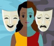 Zweipolige Mädchenfrauen-Theatermasken der Geistesstörung der Persönlichkeitsspaltung afrikanische stock abbildung