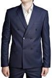 Zweireihige Anzugsjacke der Männer mit dunkelblauem kleinem kariertem Stockbild