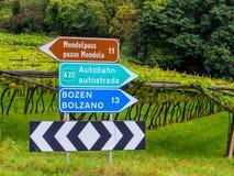 Zweisprachige Zeichen deutsch oben, italienisch unten lizenzfreie stockbilder