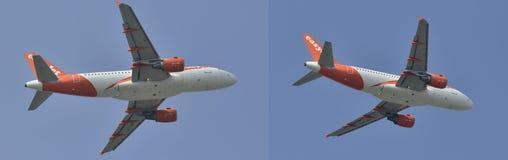 Zweistrahliges Jet-Flugzeugfliegen in den verschiedenen Positionen Stockfoto