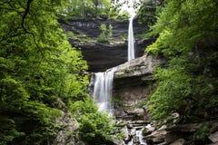 Zweistufiger Wasserfall umgeben durch grüne Bäume lizenzfreie stockbilder