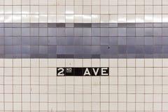Zweite Alleen-U-Bahnstation - New York City Lizenzfreies Stockfoto