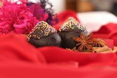 Zweiteiliger dunkler Schokoladenkuchen für Weihnachten Lizenzfreies Stockfoto