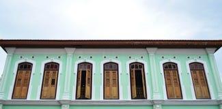Zweiter Stock des grünen Penang-Erbhauses Lizenzfreie Stockfotos