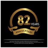Zweiundachzig Jahre Jahrestag golden Jahrestagsschablonenentwurf für Netz, Spiel, kreatives Plakat, Broschüre, Broschüre, Flieger lizenzfreie abbildung