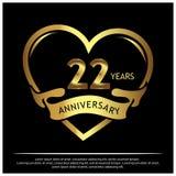 Zweiundzwanzig Jahre Jahrestag golden Jahrestagsschablonenentwurf für Netz, Spiel, kreatives Plakat, Broschüre, Broschüre, Fliege stock abbildung