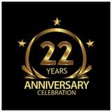 Zweiundzwanzig Jahre Jahrestag golden Jahrestagsschablonenentwurf für Netz, Spiel, kreatives Plakat, Broschüre, Broschüre, Fliege lizenzfreie abbildung