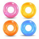 Zwem geplaatste ringen Opblaasbaar rubberstuk speelgoed Reddingsboei kleurrijke vectorinzameling De zomer Realistische zomerillus vector illustratie