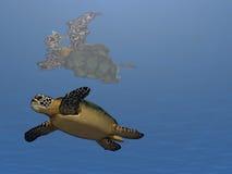 Zwem Schildpad zwemmen Royalty-vrije Stock Afbeeldingen