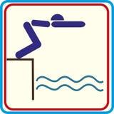 Zwem symbool voor download De vectorpictogrammen drukken projecten Stock Afbeeldingen