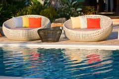 Zwembad bij zonsopgang Stock Foto