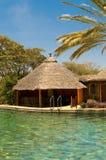 Zwembad, bungalow en palm royalty-vrije stock fotografie