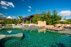 Zwembad in de luxetoevlucht Royalty-vrije Stock Foto's
