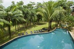 Zwembad in de tuin Royalty-vrije Stock Afbeeldingen