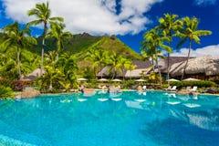 Zwembad en huizen van tropische toevlucht op Moorea Stock Fotografie