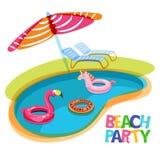 Zwembad met de flamingo van vlotterringen, eenhoorn, watermeloen Vectorhand getrokken krabbelillustratie Royalty-vrije Stock Fotografie