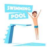 Zwembad met een duikplank De vectorillustratie van het beeldverhaal Stock Foto's