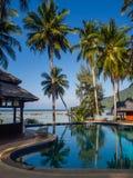 Zwembad met palmen royalty-vrije stock foto's