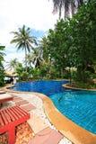 Zwembad, zonlanterfanters naast de tuin en het overzees Stock Foto's
