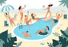 Zwembadpartij De de zomer in openlucht mensen in swimwear zwemmen samen en rubberring die in de vector van het poolwater drijven stock illustratie