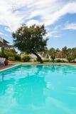 Zwembadterras royalty-vrije stock afbeeldingen