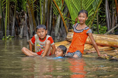 Zwemmend in de Mekong rivier, Vietnam stock foto's