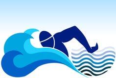Zwemmend embleem Stock Foto