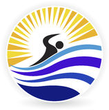 Zwemmend embleem Royalty-vrije Stock Foto