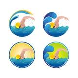 Zwemmend embleem Stock Afbeeldingen