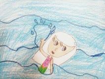 Zwemmend Meisje royalty-vrije illustratie