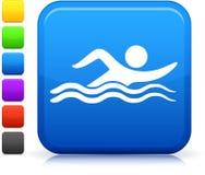Zwemmend pictogram op vierkante Internet knoop stock illustratie