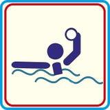 Zwemmend waterpolo het spelen symbool voor download Vectorpictogrammen en drukprojecten Stock Fotografie