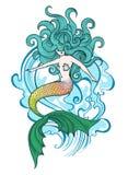 Zwemmende Meerminillustratie royalty-vrije illustratie