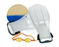 Zwemmende peddels en beschermende brillen royalty-vrije stock afbeelding