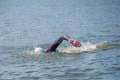 Zwemmer in een kruipende wedstrijd stock fotografie