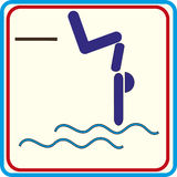 Zwemmer op een springplank, die in het water springen - pictogram Stock Afbeelding