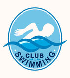 Zwemmer Swimming Club Sports Logo Illustration Royalty-vrije Stock Foto