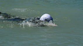 Zwemmers die in een meer in een triatlon zwemmen stock video