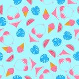 Zwempak, watermeloen, swimwear roomijs, monstera Het naadloze patroon van de zomer Gebruikt voor ontwerpvlakken, stoffen, textiel royalty-vrije illustratie
