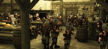 Zwergartige Horde Toon-Wikinger in der Taverne Stockfoto