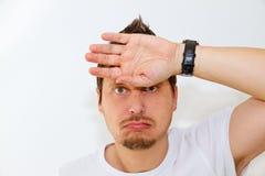 Zwetende mens Stock Foto