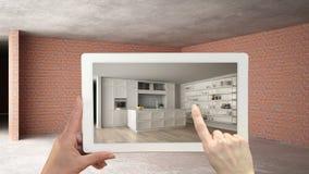 Zwiększający rzeczywistości pojęcie Wręcza mienie pastylkę z AR zastosowaniem używać symulować meble i projektować produkty w wnę fotografia stock