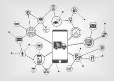 Związane ciężarówki i autonomiczny napędowy infographic z mądrze telefonem ilustracji