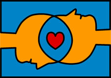 Związane głowy dzieli miłości serce ilustracji