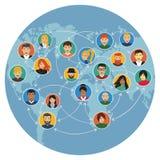 Związani ludzie ogólnospołecznej medialnej interakci, płaski projekt Zdjęcie Stock