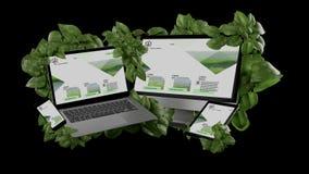 Związani przyrząda otacza liści 3d renderingiem obraz stock