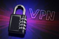 Związek internet ochrona, elektroniczna ochrona, ruch w internecie utajnianie VPN obraz royalty free