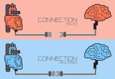 Związek mózg i serce, wtyczkowy pojęcie Fotografia Stock