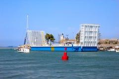 Związku most między Lefkada wyspą i stałym lądem Obraz Royalty Free