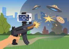 Zwiększać rzeczywistość gry Chłopiec z AR pistoletem bawić się strzelającego Gemowa broń z telefonem komórkowym również zwrócić c ilustracja wektor